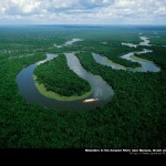 meandering river in amazon